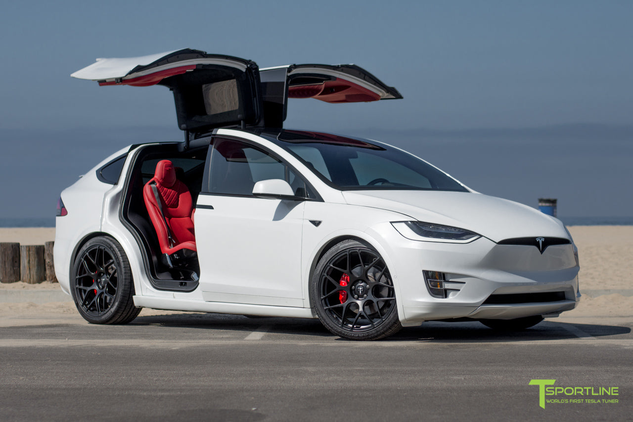 Tesla P90d For Sale >> Pearl White Tesla Model X - Bentley Red Custom Interior – TSportline.com - Tesla Model S, X & 3 ...