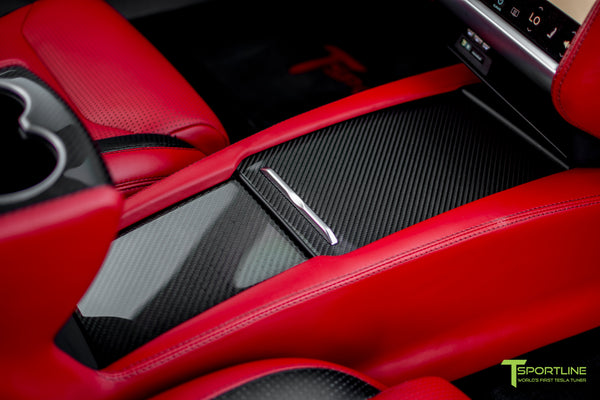 Model S with Gloss Tesla Carbon Fiber Center Console Flip Door and Sliding Tray Panel Set 3
