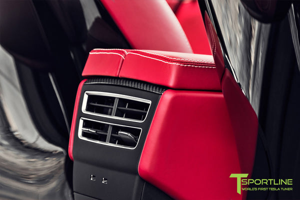 Project TSX7 - 2016 Tesla Model X P90D Ludicrous - Custom Bentley Red Interior - Carbon Fiber Dash Kit 1