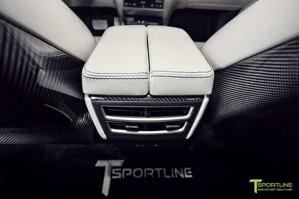 Project Malibu - Model S (2016 Facelift) - Custom Interior Bentley Linen - Gloss Carbon Fiber Dashboard - Steering Wheel - Center Console - Seatbacks by T Sportline 3
