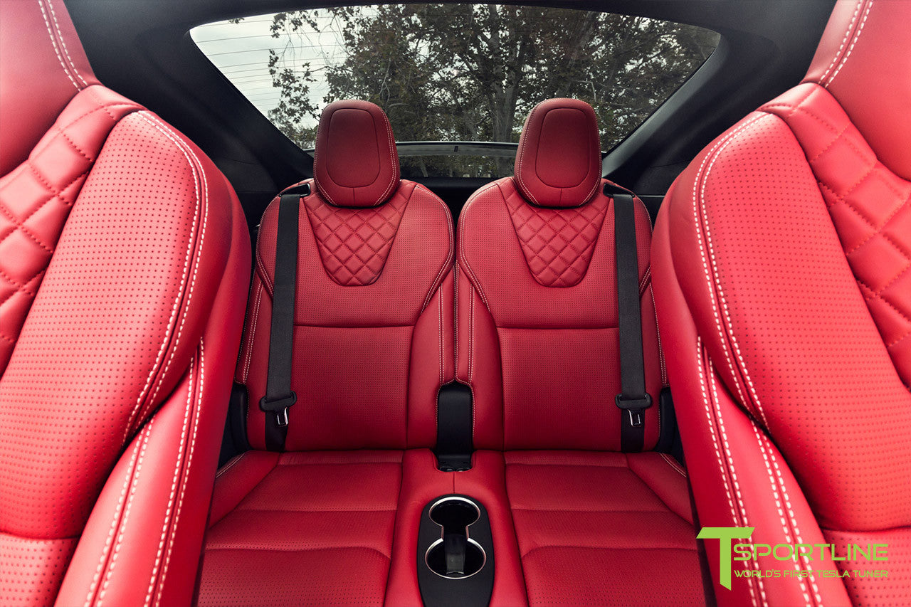 Project TSX7 - 2016 Tesla Model X P90D Ludicrous - Custom Bentley Red Interior