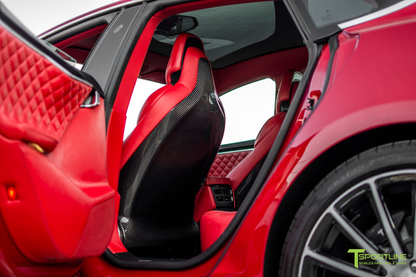 Tesla Model S with Gloss Carbon Fiber Seatbacks in Bentley Red Custom Interior by T Sportline 1
