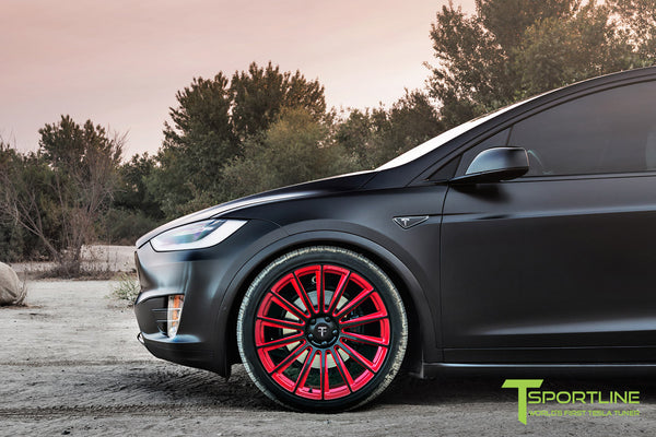 Project T-Rex - 2016 Tesla Model X P90D Ludicrous - White Interior - 22 Inch MX114 Forged Wheels in Velocity Red 5
