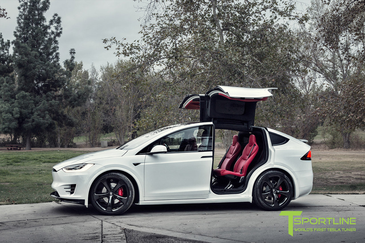 Project TSX7 - 2016 Tesla Model X P90D Ludicrous - Custom Bentley Red Interior - 22 inch MX5 Forged Wheels in Gloss Black - Carbon Fiber Apron