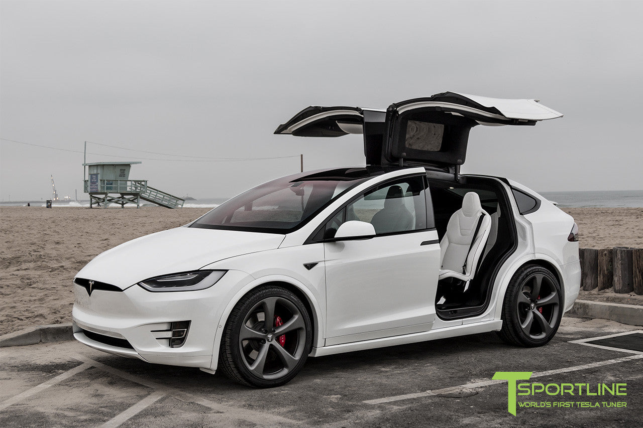 Project White X - 2016 Tesla Model X P90D Ludicrous - White Interior - 22 Inch MX5 Forged Wheels in Matte Grey 6