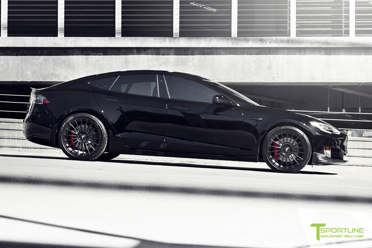 Black Model S with Matte Black TS118 21 inch Forged Tesla Wheels in Matte Black by T Sportline