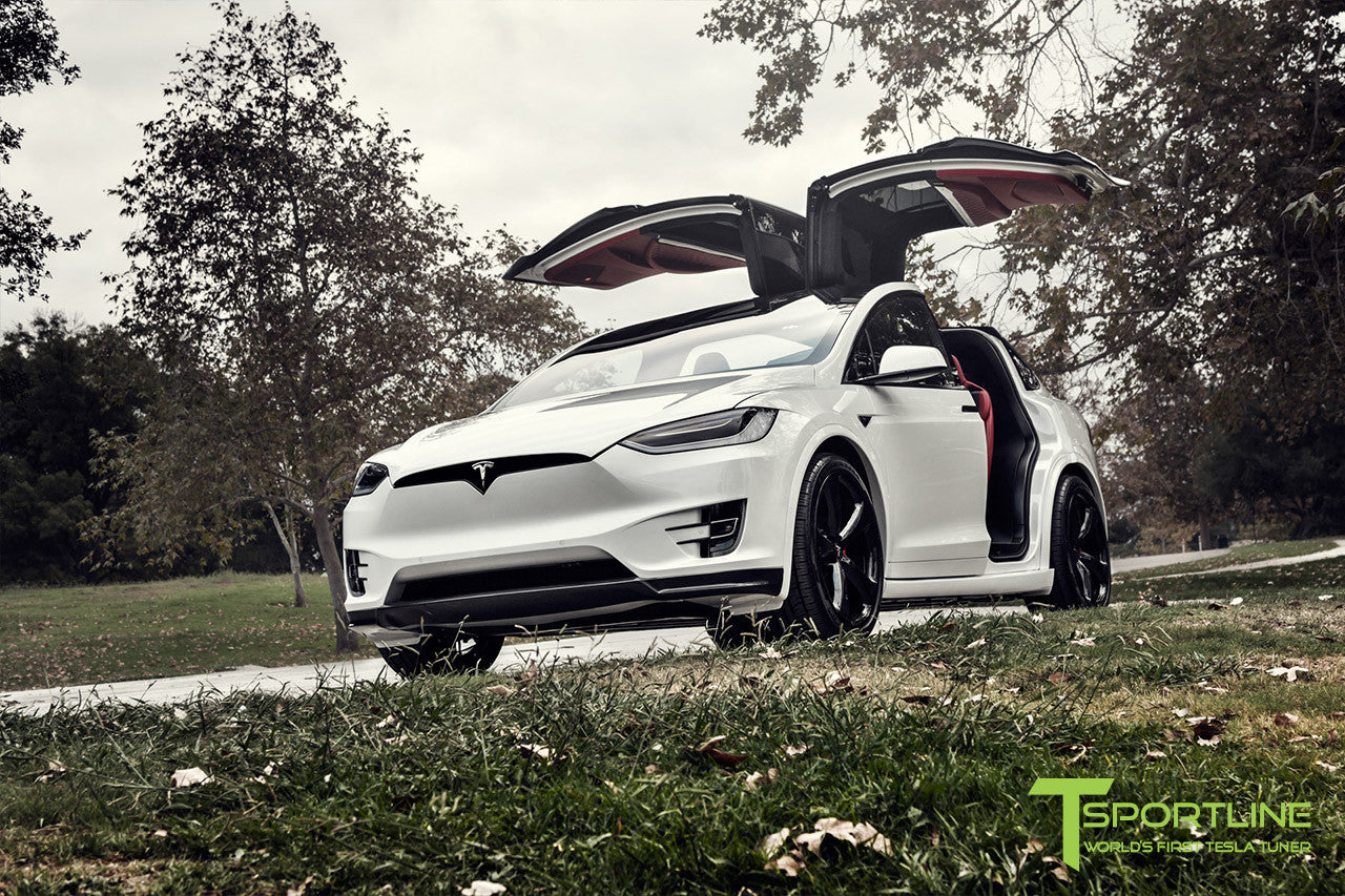 Project TSX7 - 2016 Tesla Model X P90D Ludicrous - Custom Bentley Red Interior - 22 inch MX5 Forged Wheels in Gloss Black - Carbon Fiber Apron 3