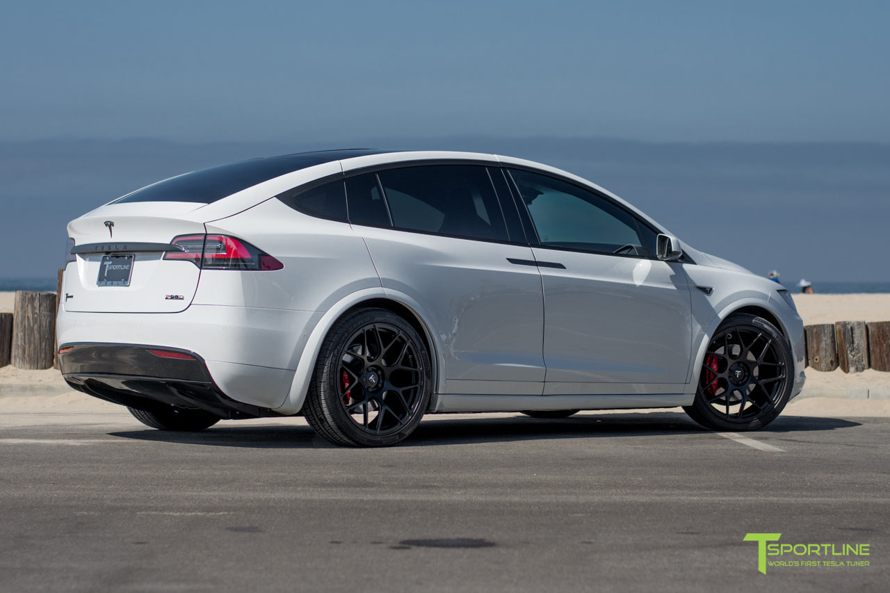Pearl White Tesla Model X with Matte Black 22 inch MX118 Forged Wheels by T Sportline