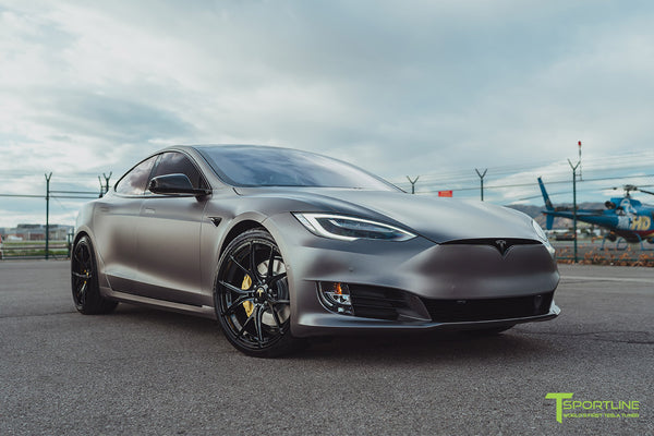 Satin Dark Gray Tesla Model S 2.0 Performance with Gloss Black Chrome Delete, Gloss Black 21 inch TS115 Forged Wheels, and Dark Ash Wood Steering Wheel by T Sportline 12