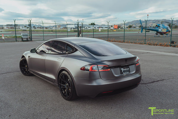 Satin Dark Gray Tesla Model S 2.0 Performance with Gloss Black Chrome Delete, Gloss Black 21 inch TS115 Forged Wheels, and Dark Ash Wood Steering Wheel by T Sportline 10