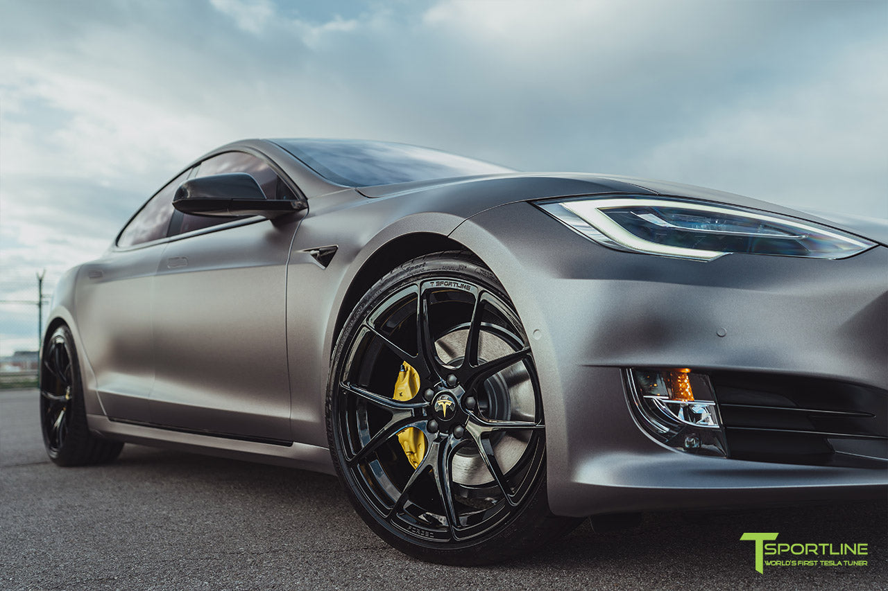 Satin Dark Gray Tesla Model S 2.0 Performance with Gloss Black Chrome Delete, Gloss Black 21 inch TS115 Forged Wheels, and Dark Ash Wood Steering Wheel by T Sportline 8