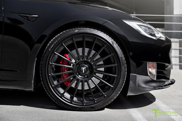 Black Model S with Matte Black TS118 21 inch Forged Tesla Wheels in Matte Black by T Sportline 2