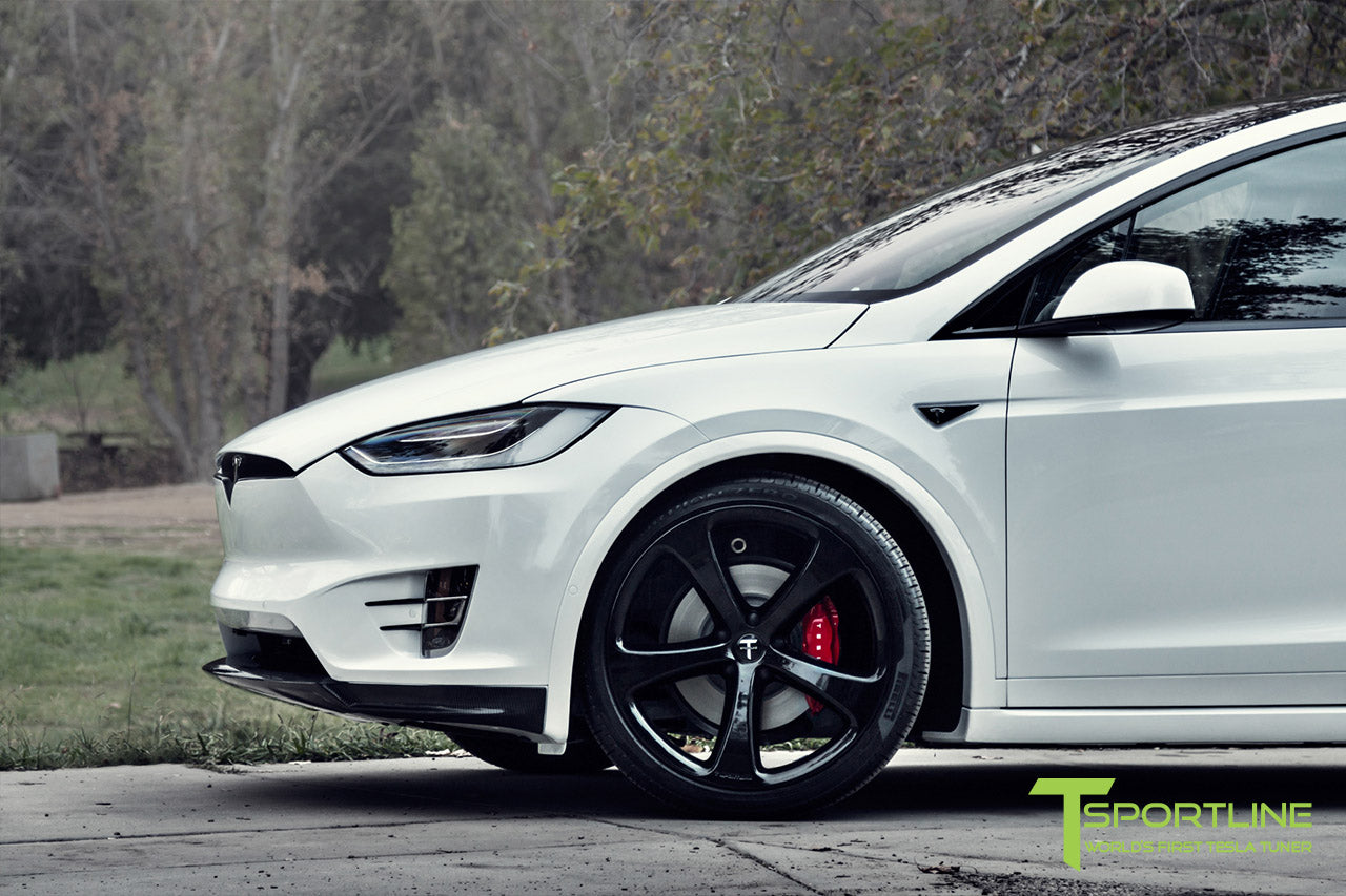 Pearl White Tesla Model X with Carbon Fiber Front Apron by T Sportline