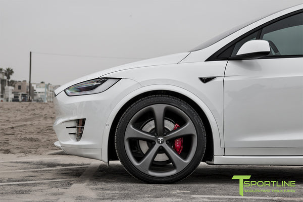 Project White X - 2016 Tesla Model X P90D Ludicrous - White Interior - 22 Inch MX5 Forged Wheels in Matte Grey 4
