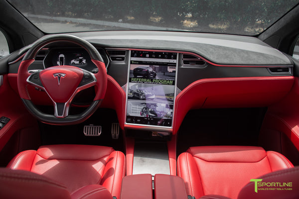 Project TSX6 - 2016 Tesla Model X P90D Ludicrous - Custom Interior Bentley Red - by T Sportline 15