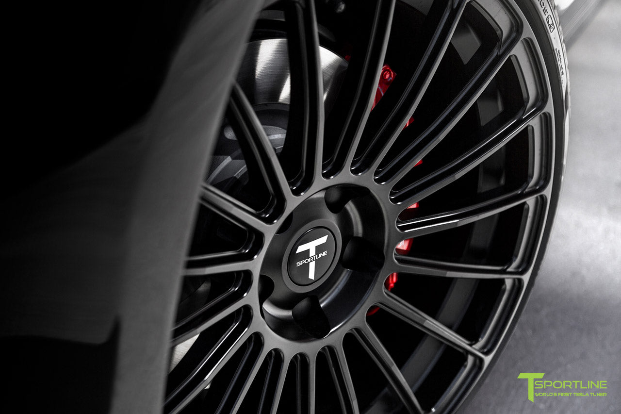 Black Model S with Matte Black TS118 21 inch Forged Tesla Wheels in Matte Black by T Sportline 1