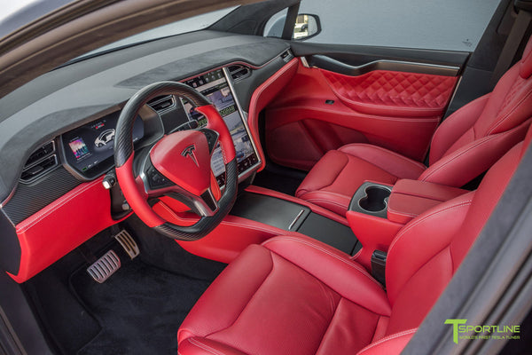 Project TSX6 - 2016 Tesla Model X P90D Ludicrous - Custom Interior Bentley Red - by T Sportline 14