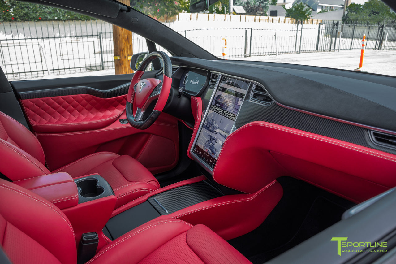 Project TSX6 - 2016 Tesla Model X P90D Ludicrous - Custom Interior Bentley Red - by T Sportline 13