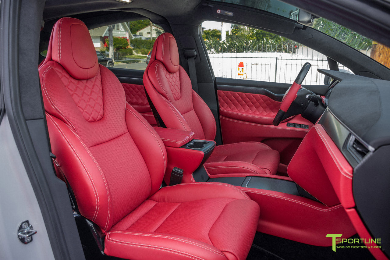 Project TSX6 - 2016 Tesla Model X P90D Ludicrous - Custom Interior Bentley Red - by T Sportline 12