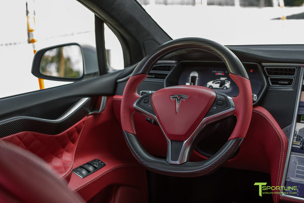 Project TSX6 - 2016 Tesla Model X P90D Ludicrous - Custom Interior Bentley Red - by T Sportline 11