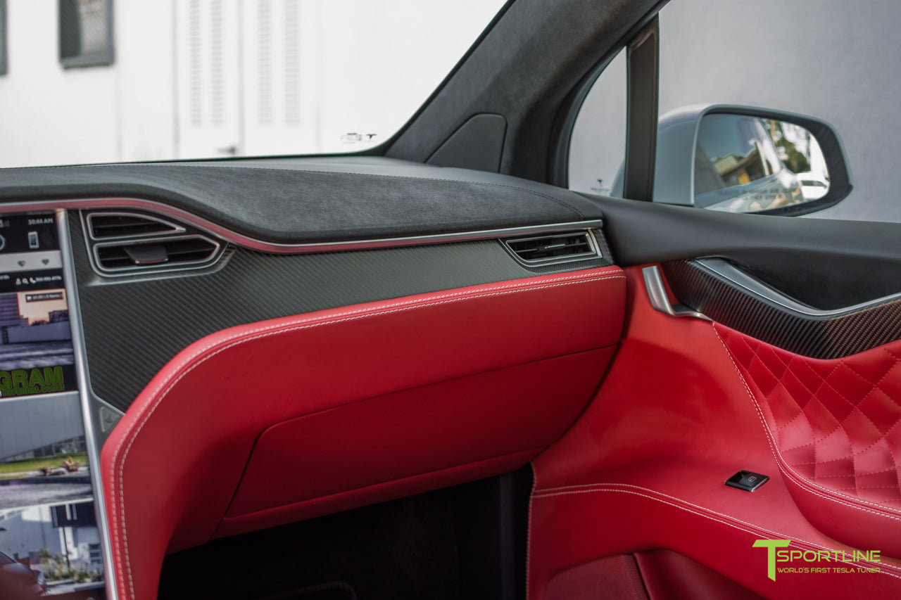 Project TSX6 - 2016 Tesla Model X P90D Ludicrous - Custom Interior Bentley Red - by T Sportline 10