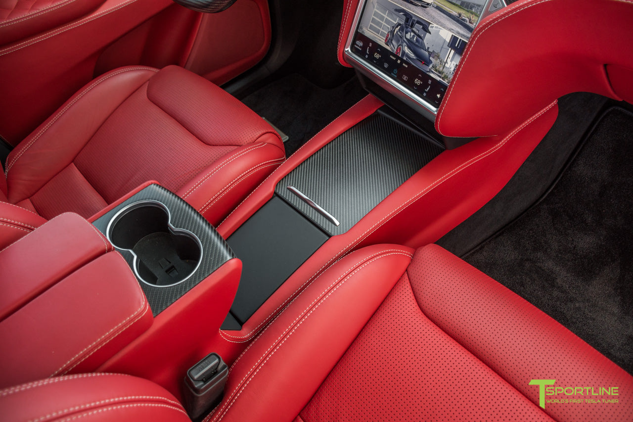 Project TSX6 - 2016 Tesla Model X P90D Ludicrous - Custom Interior Bentley Red - by T Sportline 9