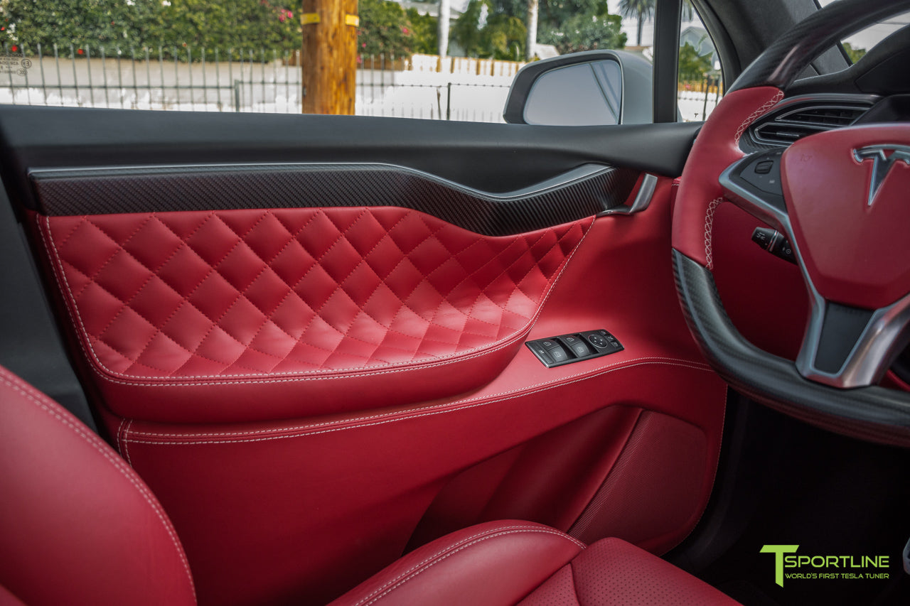 Project TSX6 - 2016 Tesla Model X P90D Ludicrous - Custom Interior Bentley Red - by T Sportline 8