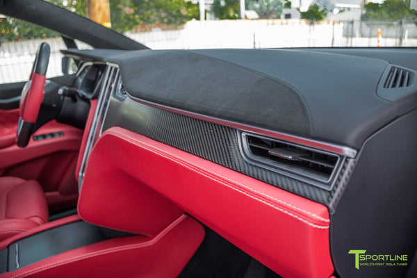 Project TSX6 - 2016 Tesla Model X P90D Ludicrous - Custom Interior Bentley Red - by T Sportline 5
