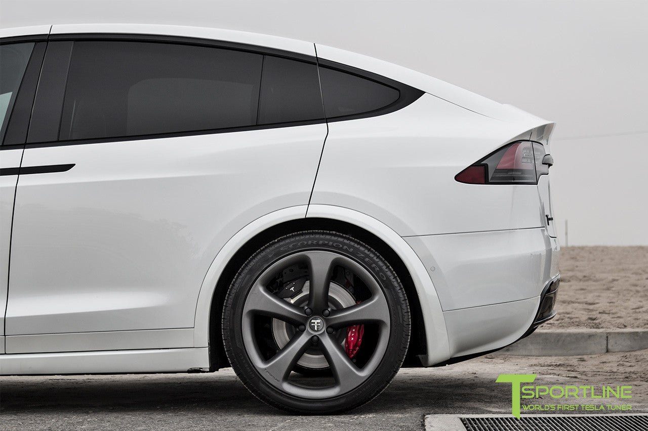 Project White X - 2016 Tesla Model X P90D Ludicrous - White Interior - 22 Inch MX5 Forged Wheels in Matte Grey 3