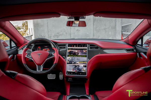 Tesla Model S with Gloss Carbon Fiber Dashboard, Dash board or Dash Panel Kit in Bentley Red Custom Interior by T Sportline 1