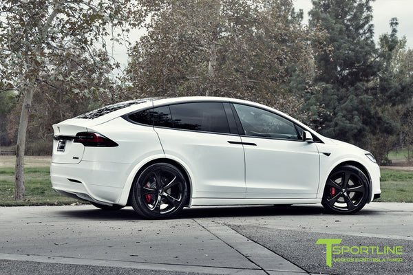 Project TSX7 - 2016 Tesla Model X P90D Ludicrous - Custom Bentley Red Interior - 22 inch MX5 Forged Wheels in Gloss Black 6