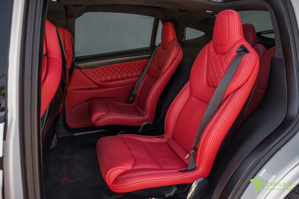 Project TSX6 - 2016 Tesla Model X P90D Ludicrous - Custom Interior Bentley Red - by T Sportline 3
