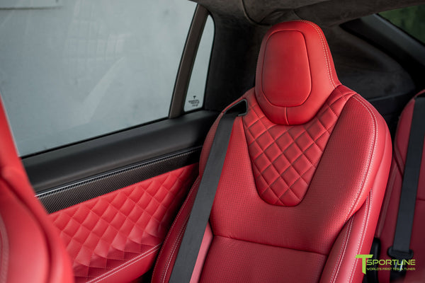 Project TSX6 - 2016 Tesla Model X P90D Ludicrous - Custom Interior Bentley Red - by T Sportline 2