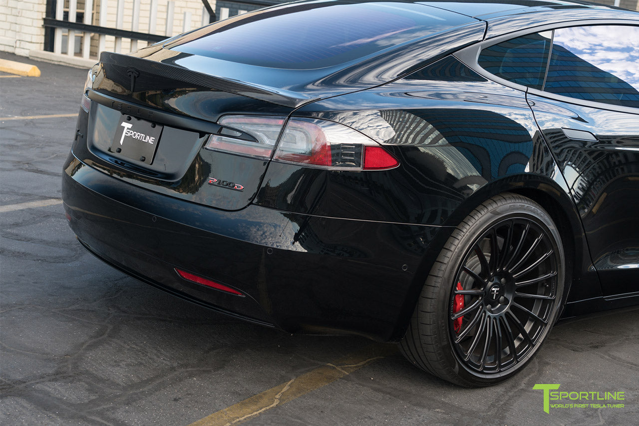 Black Tesla Model S with Gloss Carbon Fiber Rear Trunk Wing Spoiler by T Sportline