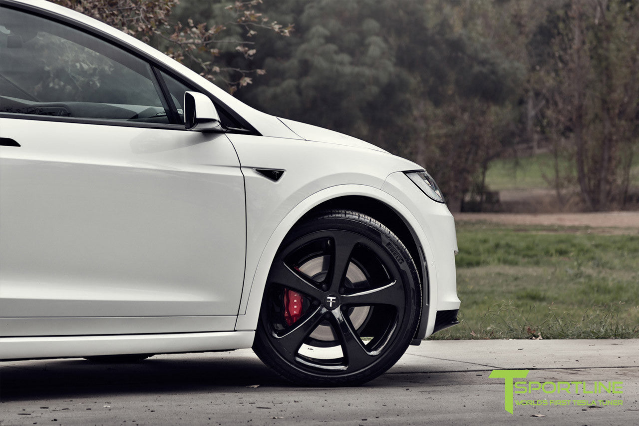 Project TSX7 - 2016 Tesla Model X P90D Ludicrous - Custom Bentley Red Interior - 22 inch MX5 Forged Wheels in Gloss Black 5