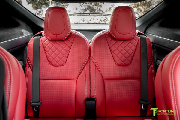Project TSX6 - 2016 Tesla Model X P90D Ludicrous - Custom Interior Bentley Red - by T Sportline 17