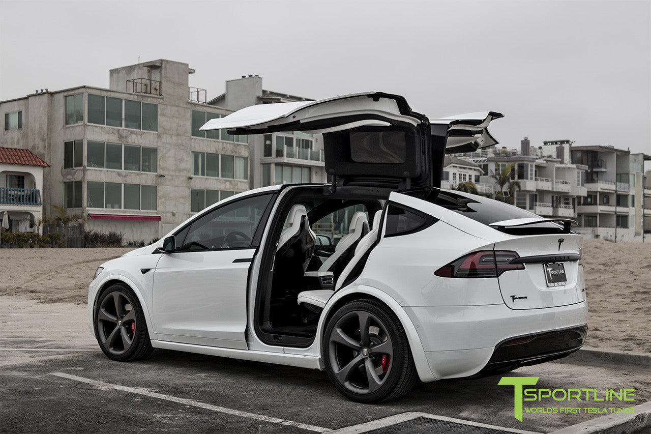 Project White X - 2016 Tesla Model X P90D Ludicrous - White Interior - 22 Inch MX5 Forged Wheels in Matte Grey 1