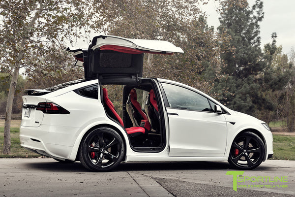 Project TSX7 - 2016 Tesla Model X P90D Ludicrous - Custom Bentley Red Interior - 22 inch MX5 Forged Wheels in Gloss Black 3