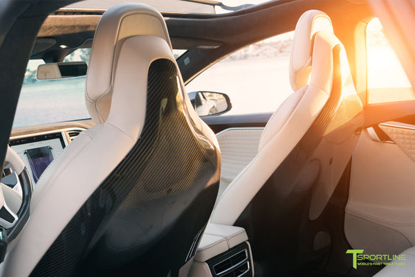 Tesla Model S with Gloss Carbon Fiber Seatbacks in Bentley Linen Custom Interior by T Sportline 1