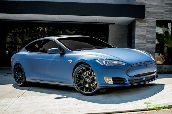 Matte Blue Metallic Model S 1.0 with TS117 Gloss Black Forged Tesla Wheels 1
