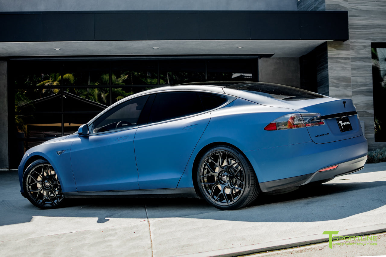 Matte Blue Metallic Model S 1.0 with TS117 Gloss Black Forged Tesla Wheels 2