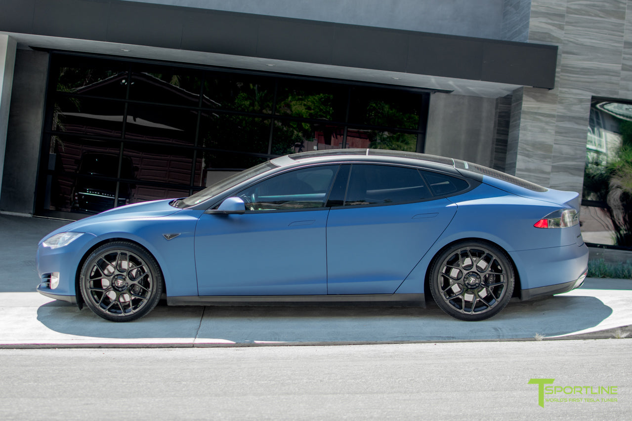 Matte Blue Metallic Model S 1.0 with TS117 Gloss Black Forged Tesla Wheels by T Sportline