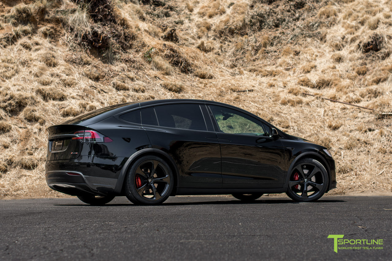 Black Tesla Model X with Gloss Black 22 inch MX5 Forged Wheels by T Sportline