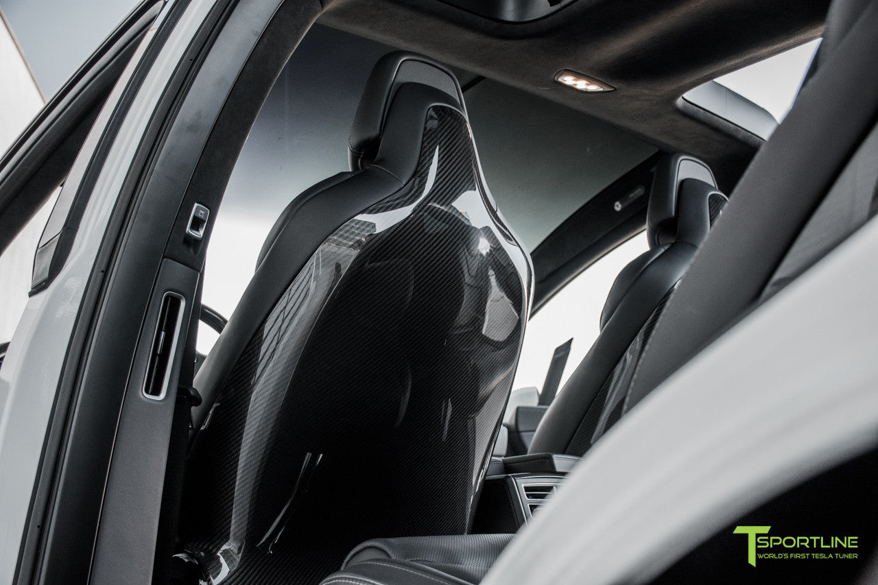 Tesla Model X with Gloss Carbon Fiber Seatbacks in Black Interior by T Sportline 5