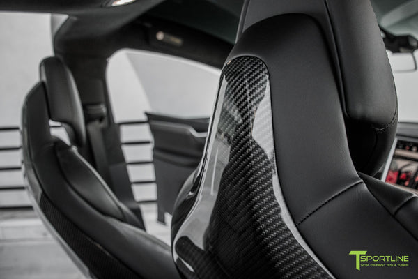 Tesla Model X with Gloss Carbon Fiber Seatbacks in Black Interior by T Sportline 2