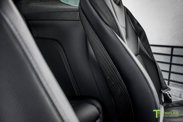 Tesla Model X with Gloss Carbon Fiber Seatbacks in Black Interior by T Sportline 1