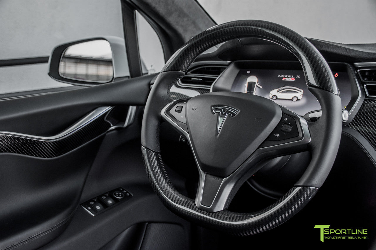 Model X with Gloss Tesla Carbon Fiber Steering Wheel in Black Interior by T Sportline 1