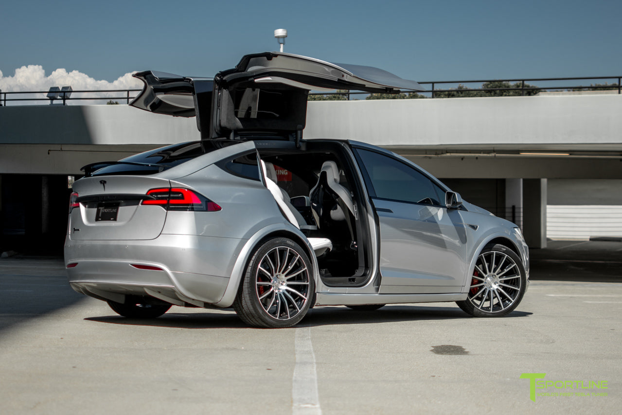 Silver 2016 Tesla Model X P90D Ludicrous - White Interior - 22 inch MX114 Forged Wheels Diamond Black - Matte Carbon Fiber Steering Wheel by T Sportline