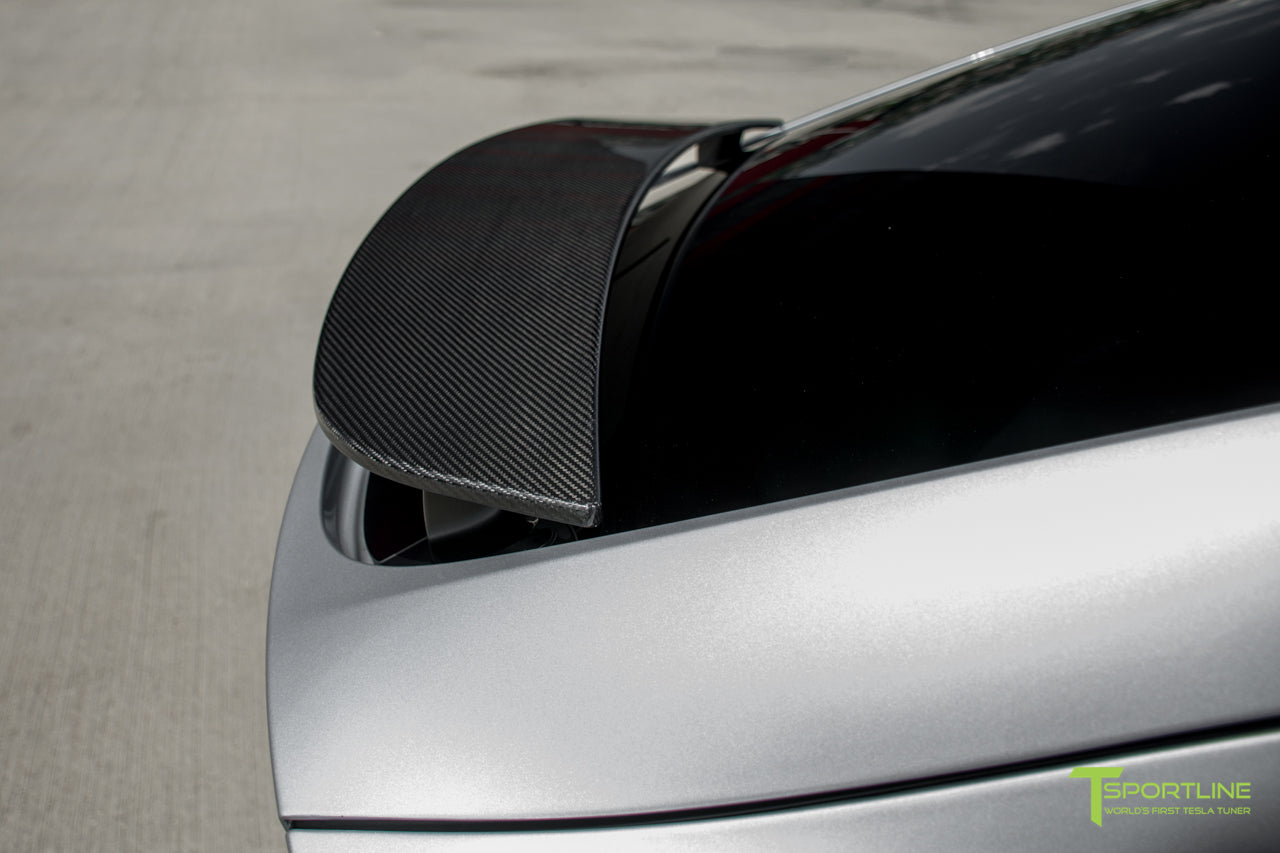 Silver Model X with Carbon Fiber Wing Cover by T Sportline