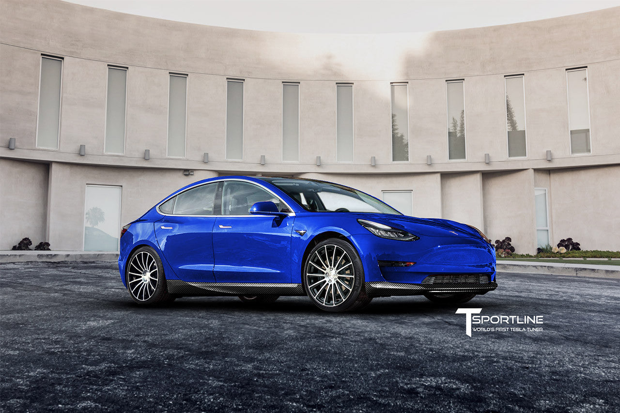 Tesla Model 3 Carbon Fiber Sport Kit Concept Tagged Color